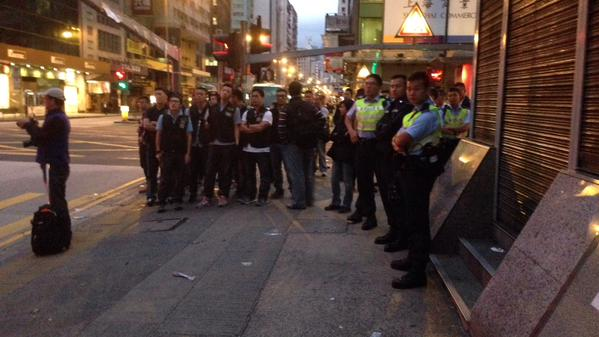 Like, more police than people still walking around in Mong Kok OccupyHK