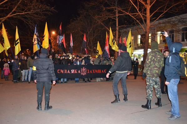 Mykolaiv today. Joint March of the Right Sector and SNA.