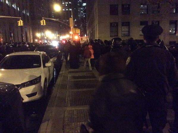 About 100 blackoutblackfriday protestors arrived at NYPD HQ, but there might be more police than activists.