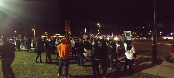 Protesters at Kellogg and Rock Road in Wichita, KS
