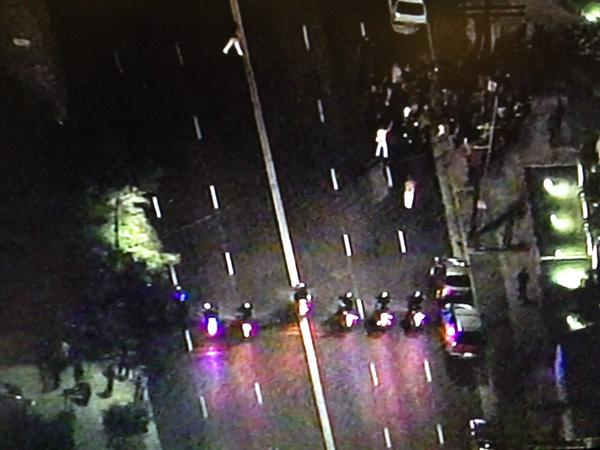 Ferguson protesters are now boxed in by LAPD on Alvarado north of Beverly