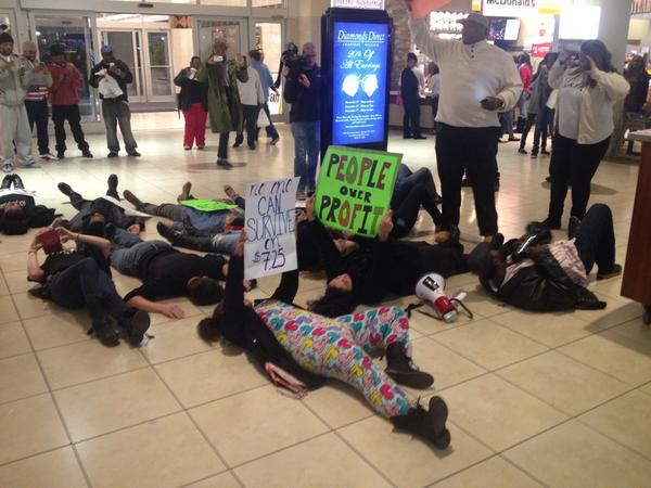 Ferguson protesters at Crabtree Valley Mall in Raleigh