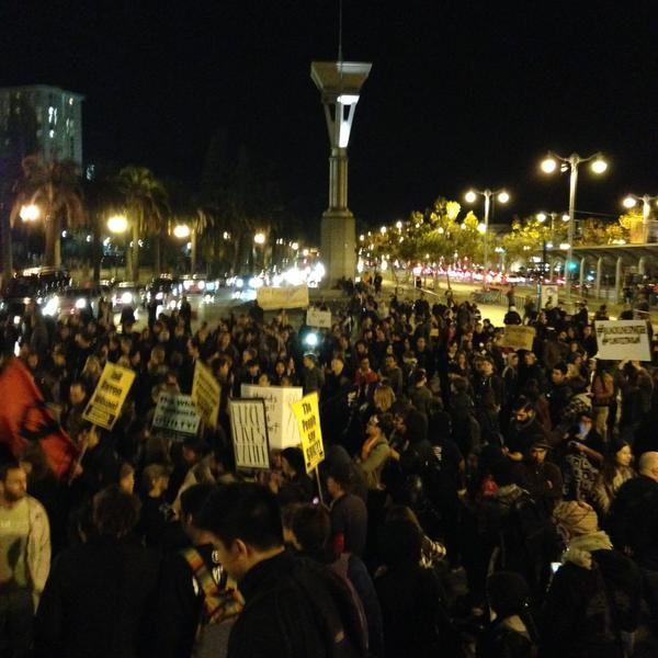 Protesters beginning to march up Market Street in  San Francisco