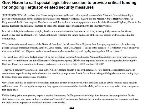 Gov. Nixon calls special session to pay for National Guard and Highway Patrol operations in Ferguson.