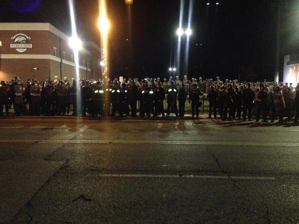 Protestors view looking towards Ferguson PD