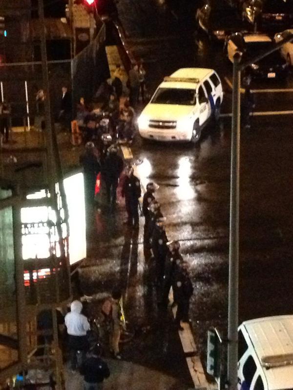 SFPD blocking Valencia & 20th in the rain Ferguson protest in SF