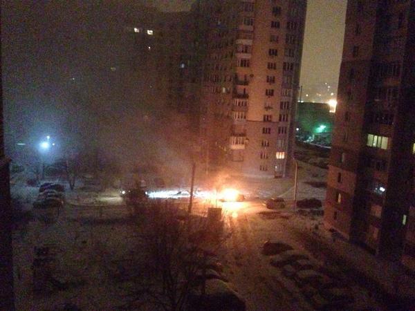 On Zalesskaya street in Kharkiv burned car