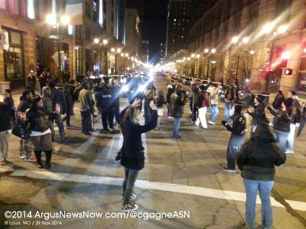 Washington Ave at 11th Street shut down. Downtown St. Louis. Ferguson