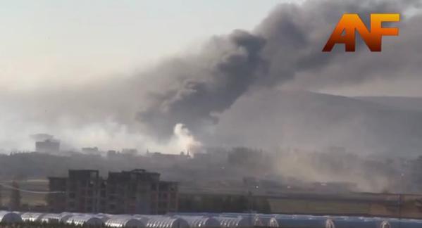 Plumes of smoke over Kobane