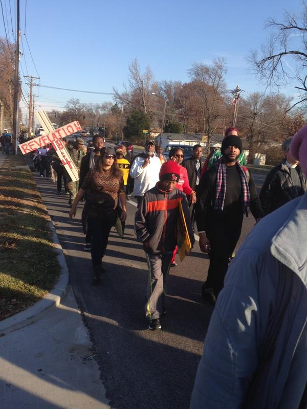Sun is shining as protesters finish first mile of 135-mile JourneyforJustice march from Ferguson to Jeff City