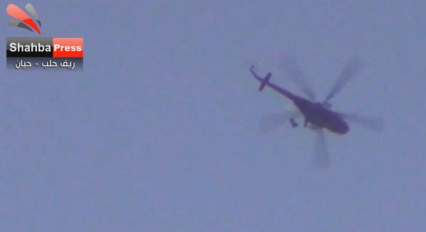 Assad regime Mil Mi-8 keep dropping barrel bombs on front-line towns around Zahra