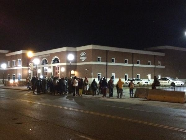 Crowd growing outside Ferguson PD.