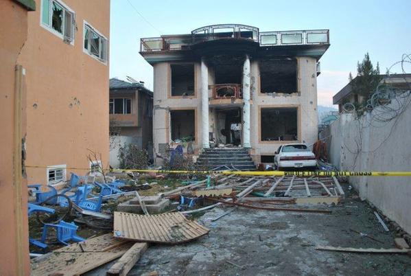 Burned down building of a Foreign NGO, attacked last night by a group of  Suicide bombers in Kabul