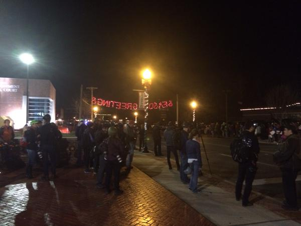There are roughly 100 protesters outside the Ferguson PD tonight. Quiet now, but wasn't earlier. Police hang back.