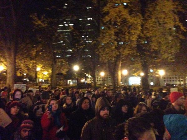 The crowd at the Ferguson solidarity action in Portland