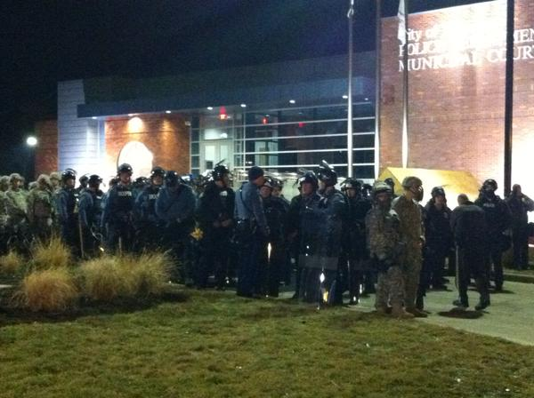Police backed by the National Guard. Ferguson