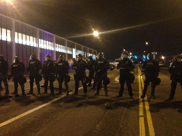 Riot police blocking the Broadway Bridge at Portland march in solidarity with Ferguson JusticeForMikeBrown
