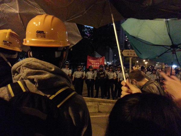 Red flag issued on Lung Wo Road. Standoff continues outside Chief Executives Office.