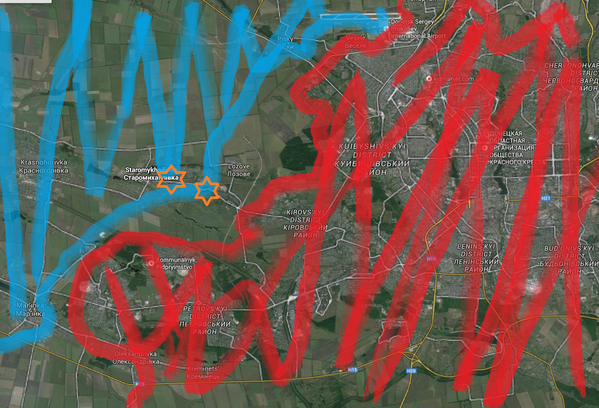 Staromykhailivka and Abakumov west of Donetsk are under heavy MLRS attack