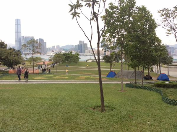 Tamar Park is abandoned. 4 tents, patches of withered grass all that remains of OccupyHK here