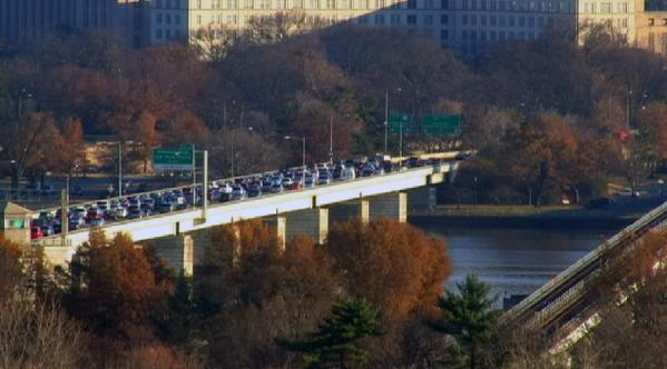 Protestors have shut down the 14th Street Bridge this morning. DCFerguson