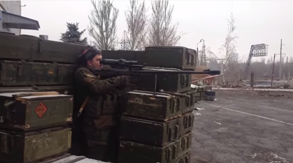 Separatists in eastern Ukraine with a KSVK 12.7 rifle, a weapon only in service in the Russian army.