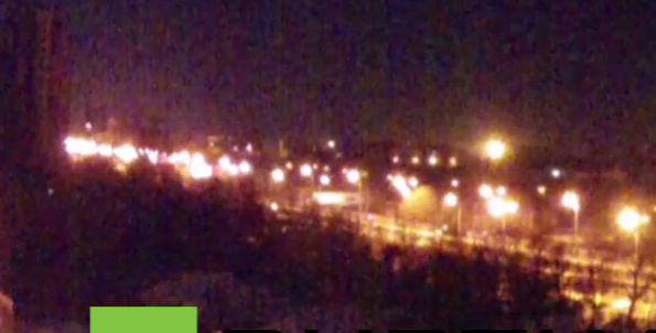 Outgoing GRAD fire visible (and audible) in NE Donetsk on the RT live cam 5 mins ago