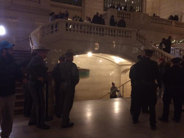 Lots of NYPD and state police at Grand Central Terminal, expecting to allow protestors to do a sit-in and move along.