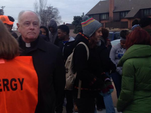 Protesters, clergy gathering in front of St. Louis County Library Ferguson EricGarner