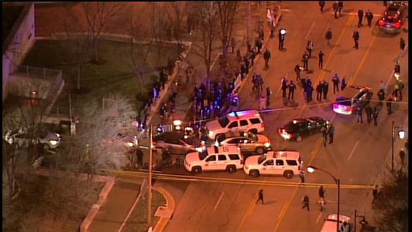 Protesters blocked with police tape.  Peaceful demonstration in STL