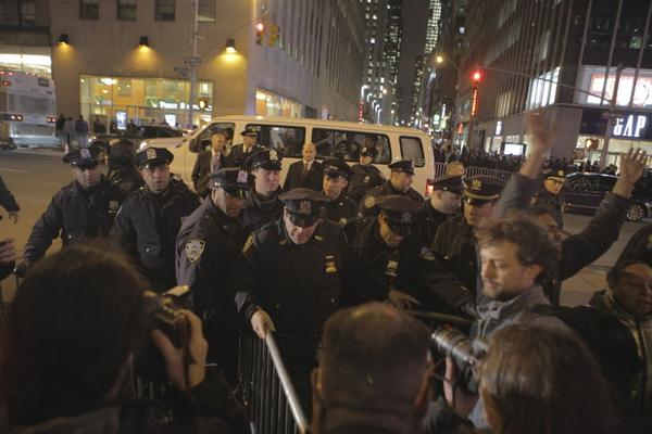 NYPD keeps putting up barricades on 6th Ave ahead of protesters, preventing them from reaching Rockefeller Center.