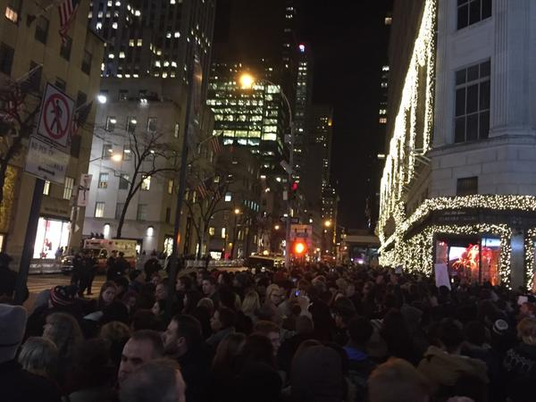 Protesters now on 5th opposite Rockefeller Xmas tree