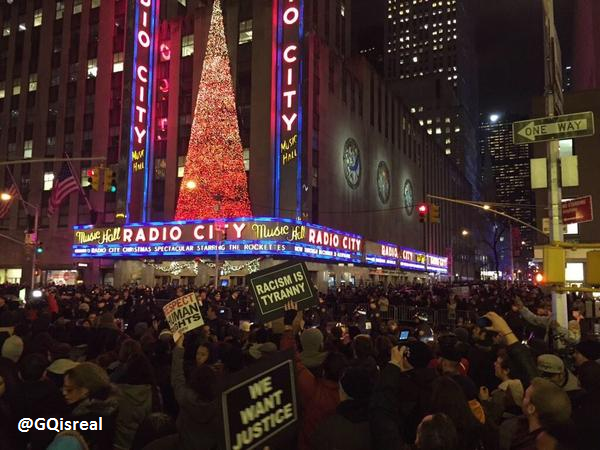 Demonstrators at NYC's Radio City Music Hall protest grand jury decision in Eric Garner case