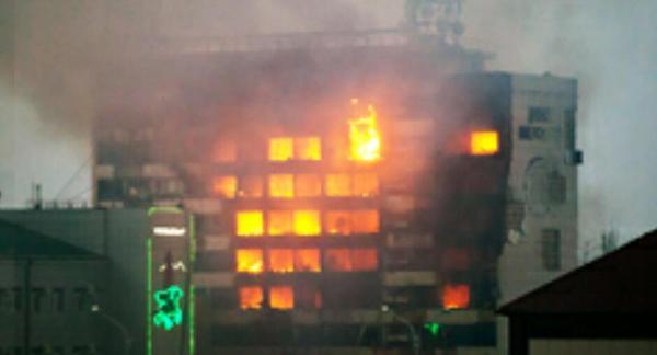Burning Press House in Grozny