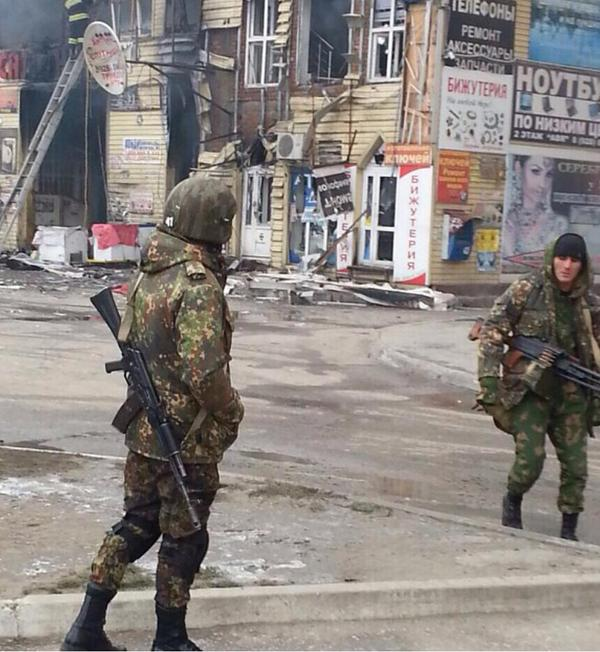 Soldiers patrolling Grozny