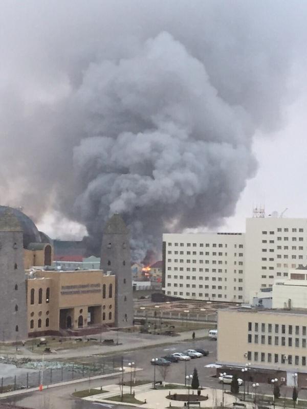 Fire in barracks in Grozny
