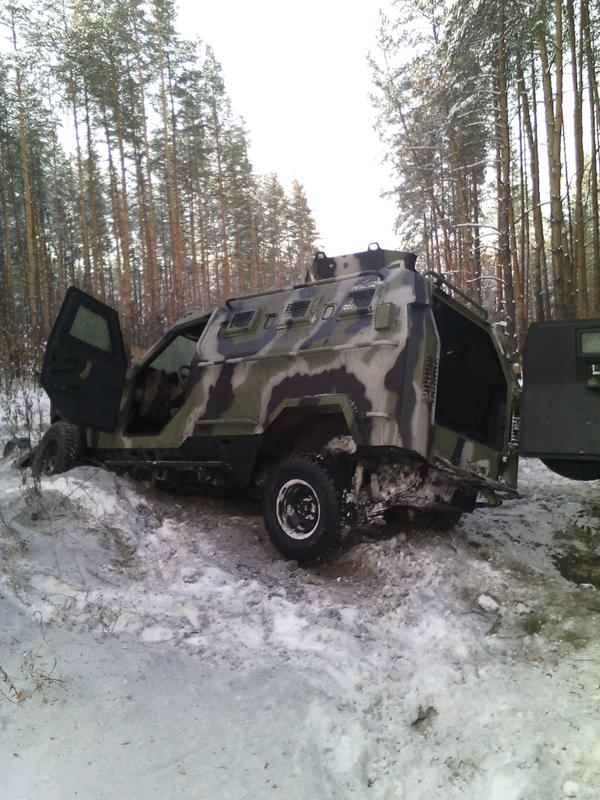 UA troops entered fight with the RF diversion group at state border. UA arm. vehicle blew on mine but saved soldiers