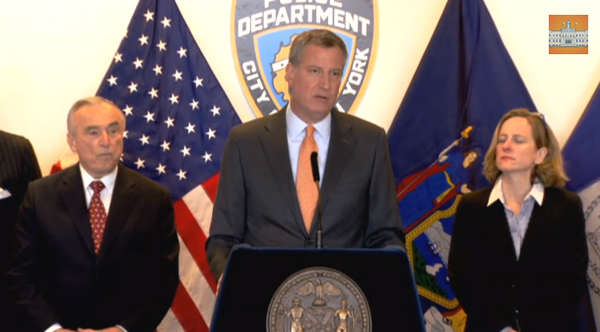 By showing the respect for the democratic process, it keeps protests peaceful, says de Blasio on NYPD reaction