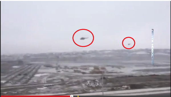Russia attack helicopters (poss Mil-24 Hind) near Grozny Chechnya