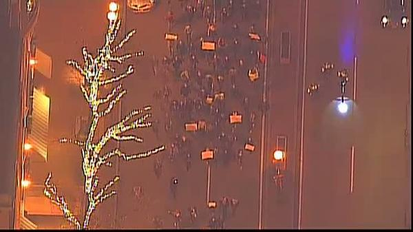 Boston protesters marching toward Boston Common to rally against NYC chokehold case.
