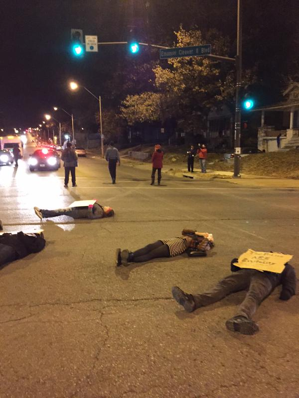 Protest at Prospect and Emmanuel Cleaver II intersection in Kansas