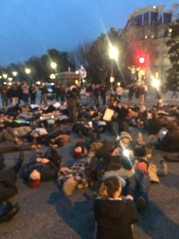 Scene just a block from the White House right now Ferguson EricGarner