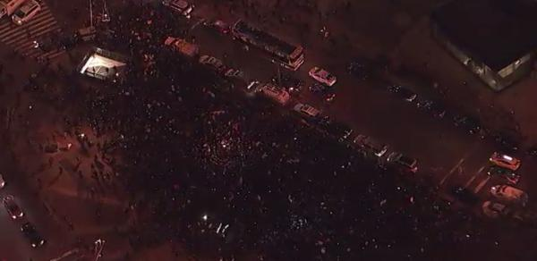 Protesters gathering in New York's Foley Square in Lower Manhattan for a EricGarner demonstration