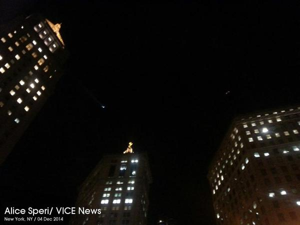 Police choppers over Foley Square
