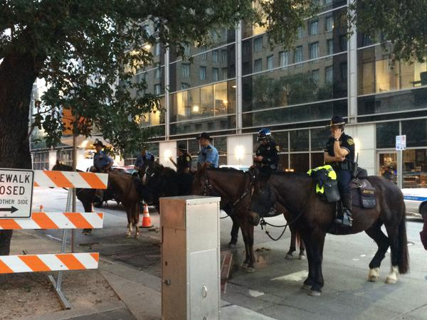 Houston mounted patrol keeps watch over group of protestors