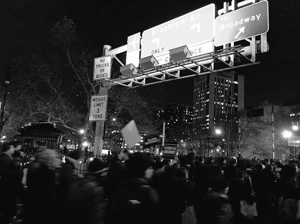 Police Close down Brooklyn Bridge in Lower Manhattan due to protesters. EricGarner
