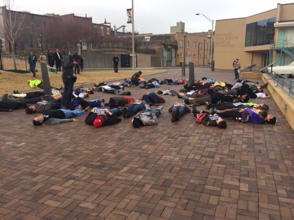 Die-in protest outside @NCRMuseum in Memphis