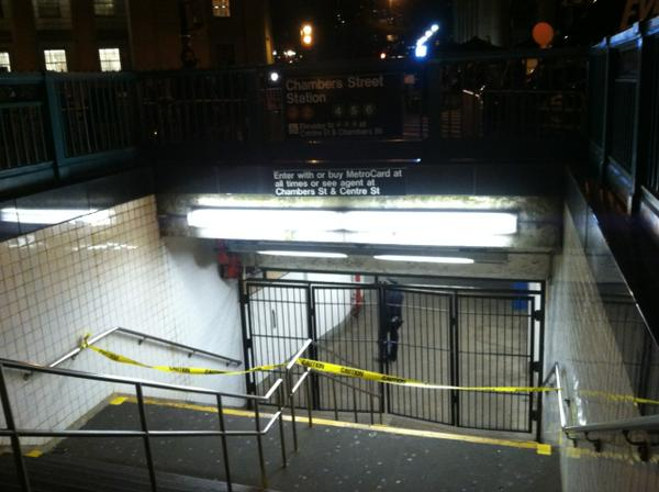 NYPD has closed Chambers Street Subway Entrance