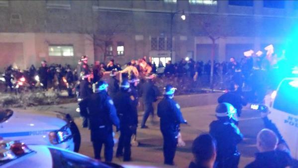 Cops blocking EricGarner crowd progress now on West Side Highway