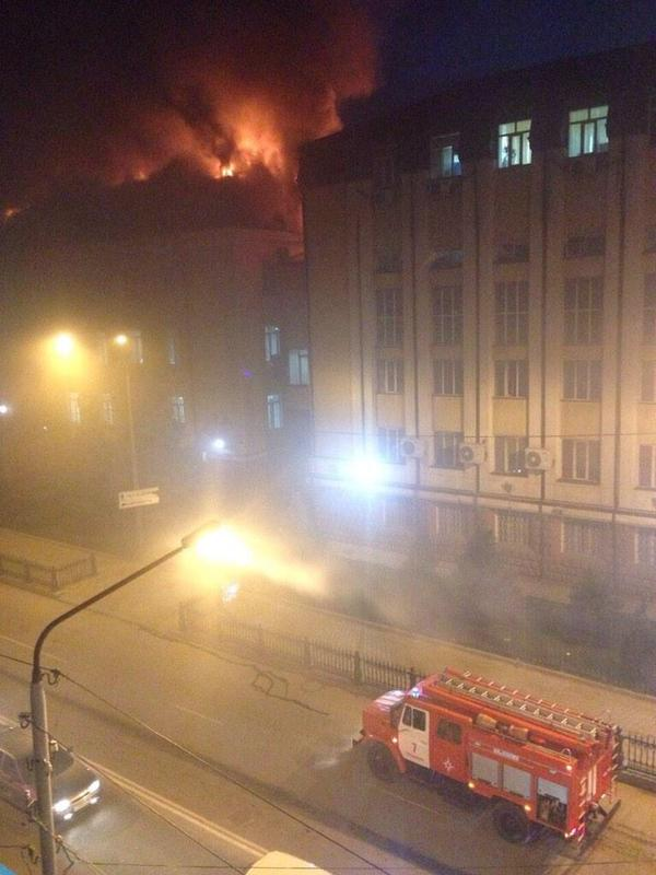 Dagestan. In Shamilkala (Makhachkala) fire on the roof of the building of the FSB
